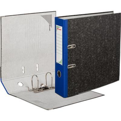 Папка-регистратор Комус 80 мм черная мрамор/синий корешок