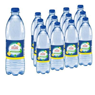 Вода питьевая Светлый родник газированная со вкусом лимона 0.6 л (12 штук в упаковке)