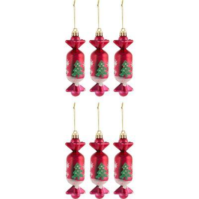 Набор новогодних украшений пластик разноцветный (12.5х3 см, 6 штук в упаковке)
