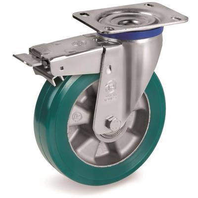 Колесо для тележки поворотное Tellure Rota с тормозом 160 мм (627404)