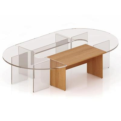 Секция стола для переговоров Эталон прямая (орех, 1400х800х768 мм)