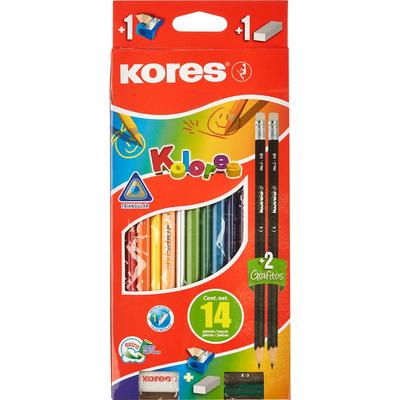Карандаши цветные Kores 12 цветов трехгранные с точилкой и ластиком