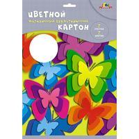 Картон цветной Апплика (А4, 7 листов, 7 цветов, мелованный, двухсторонний)