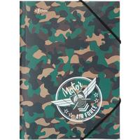 Папка на резинках №1 School Military A5 8 мм пластиковая до 200 листов хаки (толщина обложки 0.4 мм)