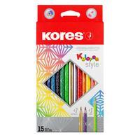 Карандаши цветные Kores 15 цветов трехгранные