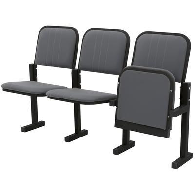Многоместная секция Эра серая/черная (3 места, искусственная  кожа/металл)
