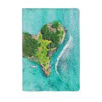 Обложка для паспорта Eshemoda Остров Сердце из натуральной кожи разноцветная