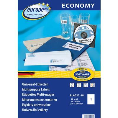 Этикетки самоклеящиеся Europe 100 белые 210x297 мм (1 штука на листе А4, 18 листов, артикул производителя ELA027-18)