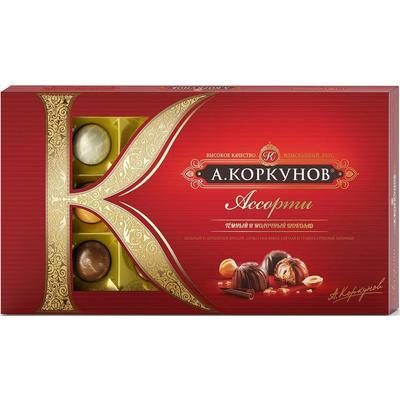 Уценка. Шоколадные конфеты А.Коркунов ассорти темного и молочного шоколада 192 г