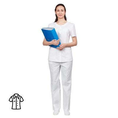 Блуза медицинская женская м16-БЛ короткий рукав белая (размер 56-58, рост 170-176)