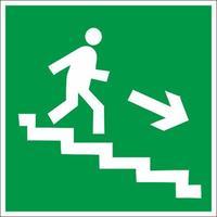 Знак безопасности Направление к эвакуационному выходу по лестнице вниз, правосторонний E13  (пленка.200х200 мм, пленка ПВХ)