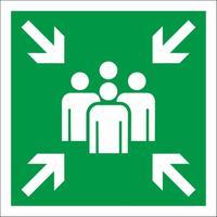 Знак безопасности Пункт (место) сбора Е21 (300x300 мм, металл, световозвращающий)