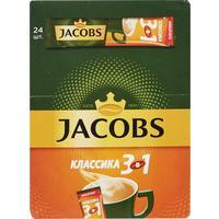 Кофе порционный растворимый Jacobs 3 в 1 Классика 24 пакетика по 12 г