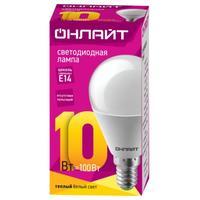 Лампа светодиодная ОНЛАЙТ 10 Вт Е 14 шарообразная 2700 К теплый белый свет