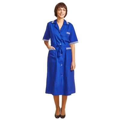 Халат для горничных и уборщиц у01-ХЛ с коротким рукавом васильковый (размер 48-50, рост 170-176)