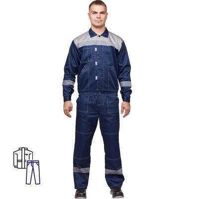 Костюм рабочий летний мужской л20-КБР с СОП синий/серый (размер 56-58, рост 158-164)