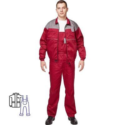 Костюм рабочий летний мужской Универсал-КПК серый/бордовый (размер 60-62, рост 182-188)