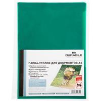 Папка-уголок Durable A4 пластиковая 180 мкм зеленая (10 штук в упаковке)
