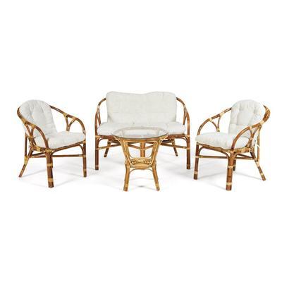 Набор мебели Rondo Eco Skin с подушками натуральный (стол, 2 кресла, диван)