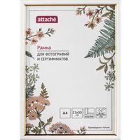 Рамка Attache A4 21x30 см пластиковый багет 14 мм белая/золотистая