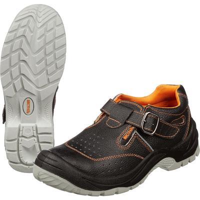 Полуботинки с перфорацией (сандалии) Мистраль натуральная кожа черные с металлическим подноском размер 39