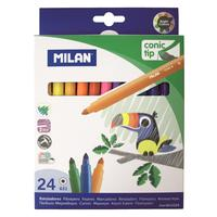 Фломастеры Milan Cone-Tipped 24 цвета с коническим стержнем