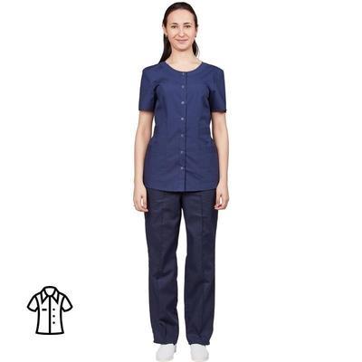 Блуза медицинская женская м16-БЛ короткий рукав синяя (размер 48-50, рост 170-176)