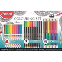 Набор для рисования Maped 33 предмета (12 цветных двусторонних карандашей, 10 фломастеров, 10 линеров, 1 точилка)