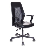 Кресло офисное Easy Chair 225 серое/черное (искусственная  кожа/сетка, металл)