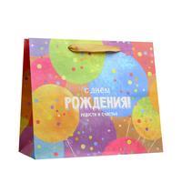 Пакет подарочный из крафт-бумаги С Днем Рождения ML (23x27x11.5 см, 6 штук в упаковке)