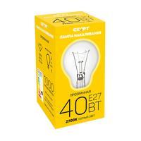 Лампа накаливания Старт 40Вт E27 грушевидная прозрачная 2700К теплый белый свет
