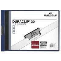 Папка с клипом для брошюровки Durable А4 до 30 листов горизонтальная синяя (толщина обложки 0.15/0.27 мм)