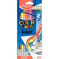 Карандаши цветные Maped Color'peps Oops 12 цветов трехгранные c ластиком