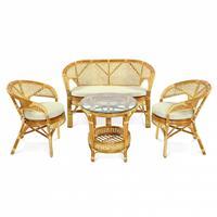 Комплект плетеной мебели Pelangi коньяк (диван двухместный, стол, 2 кресла)