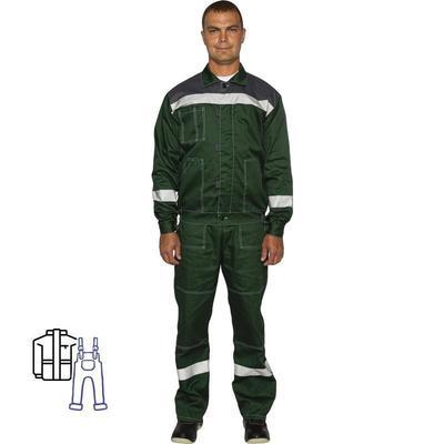 Костюм рабочий летний мужской л20-КПК зеленый/серый с СОП (размер 60-62, рост 158-164)
