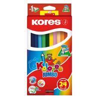 Карандаши цветные Kores Kolores Jumbo 24 цвета трехгранные с точилкой