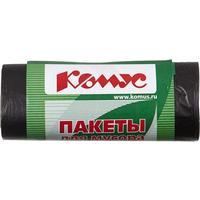 Мешки для мусора на 30 л Комус черные (ПНД, 10 мкм, в рулоне 30 шт, 48х58 см)
