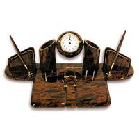 Настольный набор Орион обсидиановый 7 предметов коричневый/черный