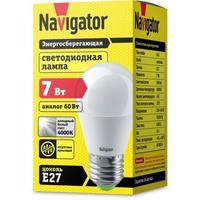 Лампа светодиодная Navigator 7 Вт E 27 шарообразная 4000 К нейтральный белый свет