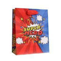 Пакет подарочный из крафт-бумаги Супер герой S (15x12x5.5 см, 12 штук в упаковке)