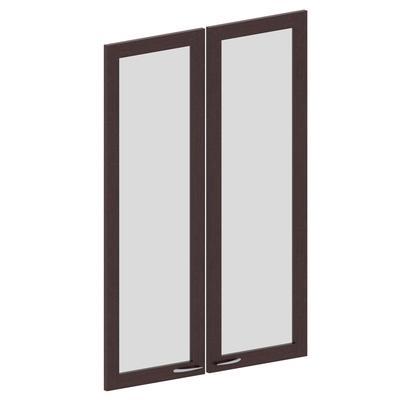 Двери Милан (стекло, 2 штуки, высота 1181 мм, рама махагон)