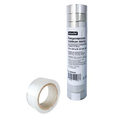 Клейкая лента канцелярская Attache прозрачная 15 мм x 10 м (12 штук в упаковке)