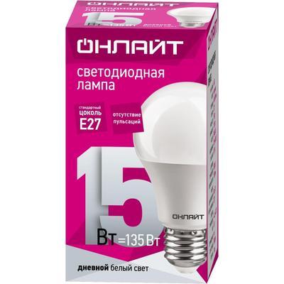 Лампа светодиодная ОНЛАЙТ 15 Вт Е 27 грушевидная 6500 К дневной белый свет