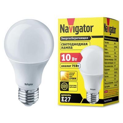 Лампа светодиодная Navigator 10 Вт Е 27 грушевидная 2700 К теплый белый свет