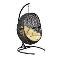 Кресло подвесное Lunar Black черное/бежевое (искусственный ротанг, сталь)