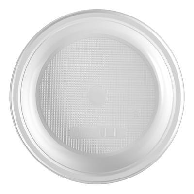 Тарелка одноразовая пластиковая 165 мм белая 100 штук в упаковке Комус Эконом
