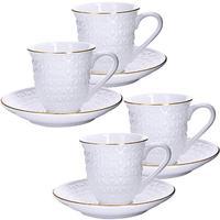 Сервиз чайный Loraine (25776) на 4 персоны фарфор (4 чашки 220 мл, 4 блюдца 14 см)