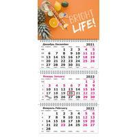 Календарь квартальный трехблочный настенный 2022 год Фрукты (305х675 мм)