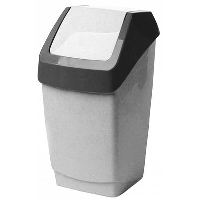 Ведро для мусора с крышкой-вертушкой М-Пластика Хапс 7 л пластик серое (21х20х37 см)