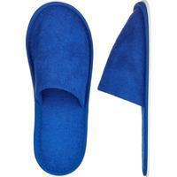 Тапочки одноразовые махровые закрытый мыс подошва Эва 5 мм синие Бизнес 100 пар в упаковке